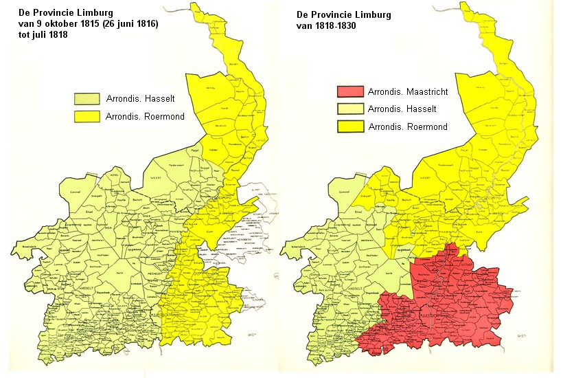 De grenzen en het bestuur van limburg tussen 1814 en 1843